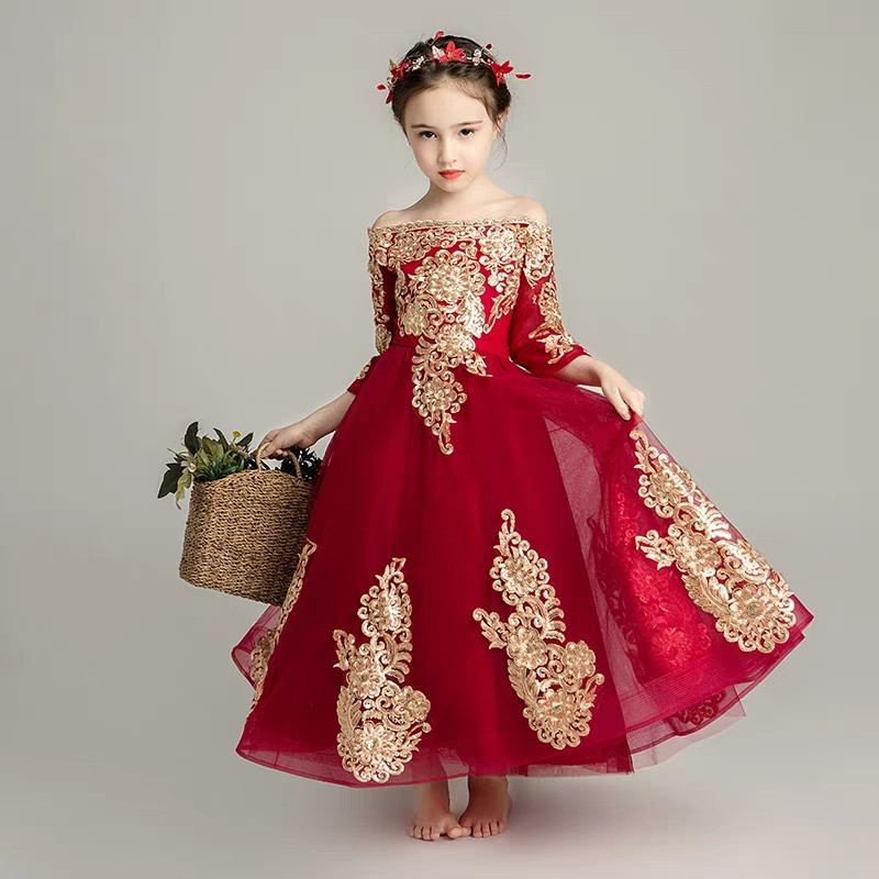 Autumn Winter Elegant Infant Girls Shoulderless Long Sleeves Lace Birthday Wedding Party Prom Dress Kids Children Piano Dress pink lace up design cold shoulder long sleeves hoodie dress