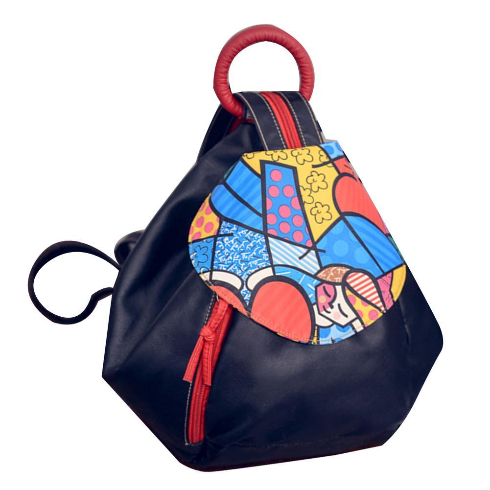 Ethnic Women Color Block Faux Leather Triangle Tote Ring Backpack Shoulder Bag Ethnic Women Color Block Faux Leather Triangle Tote Ring Backpack Shoulder Bag