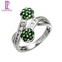 Lohaspie Solid 14K White Gold Genuine Gemstone Chrome Diopside & Diamond Wedding Rings For Women Fine Jewelry