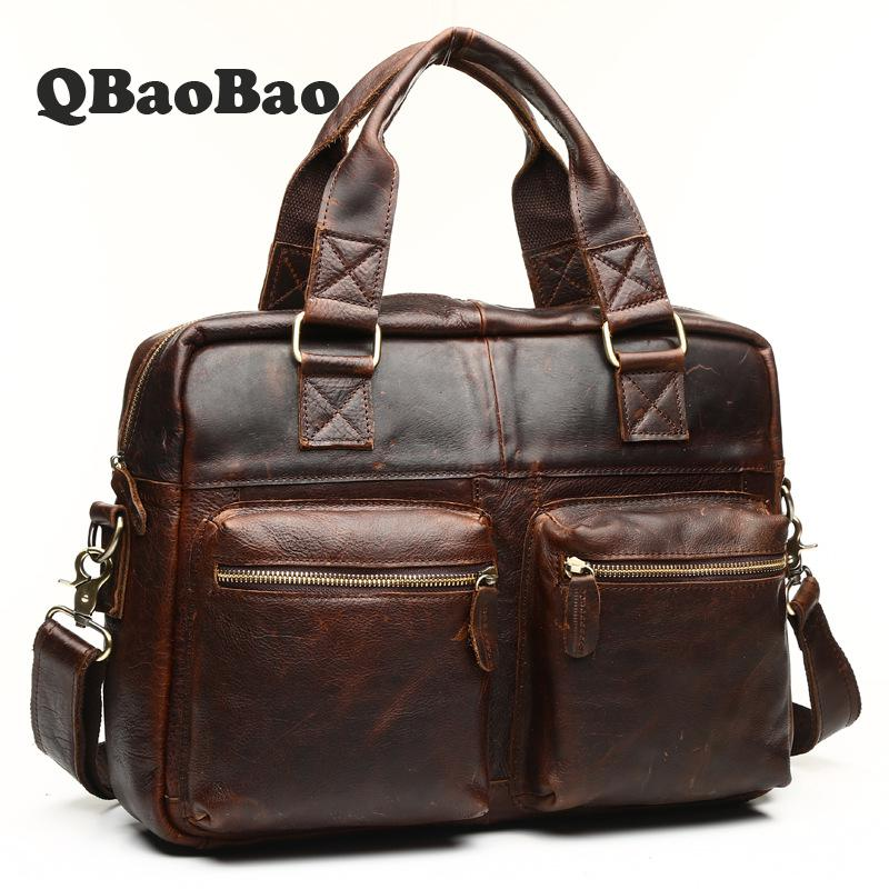 Men Briefcases Handbag Leather Laptop Bag Messenger Bags Shoulder Crossbody Bags Crazy Horse Genuine Leather Men Bag купить датчики для рено меган дизель 1 6 фото