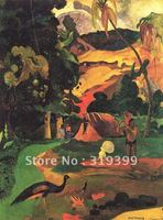 Oil Painting Reproduction,Matamoe (Landscape with Peacocks) by paul gauguin,Free DHL Shipping,100% handmade canvas oil painting