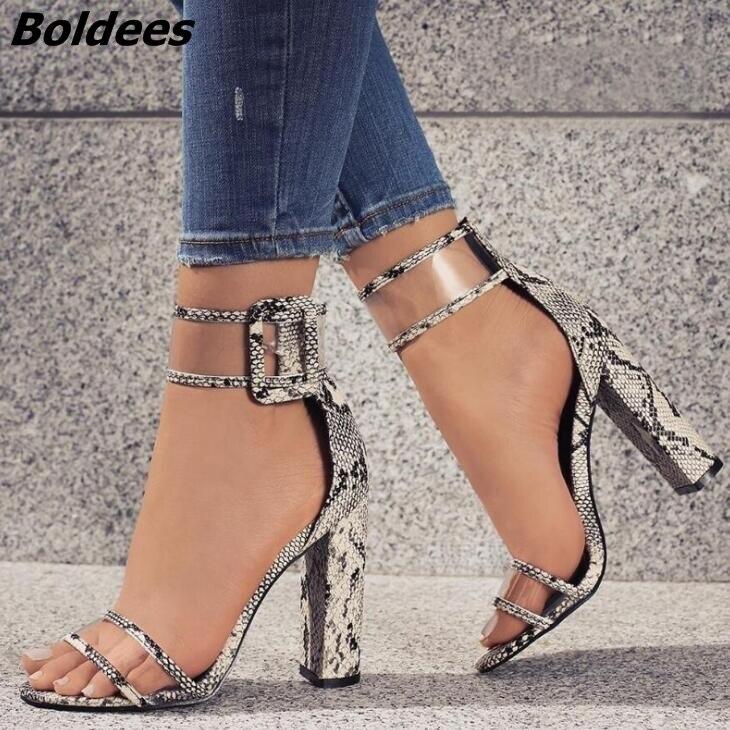Просто линии пряжки Стиль черная замша на не сужающемся книзу массивном Сандалии на каблуке пикантные туфли с открытым носком на прозрачно... - 3