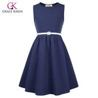 Grace Karin Vintage Flower Girl Dresses For Wedding Party First Communion Graduation Kids Prom Dress Navy