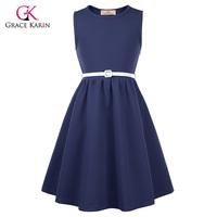 Grace Karin Vintage   Flower     Girl     Dresses   for Wedding Party First Communion Graduation Kids Prom   Dress   Navy Blue Children Clothes