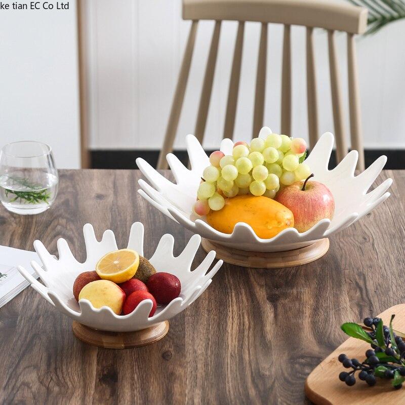 Simple เซรามิคชามผลไม้ขนมขบเคี้ยวที่ให้บริการผลไม้ถาด Creative ห้องนั่งเล่นกาแฟโต๊ะชามผลไม้-ใน จาน จาก บ้านและสวน บน title=