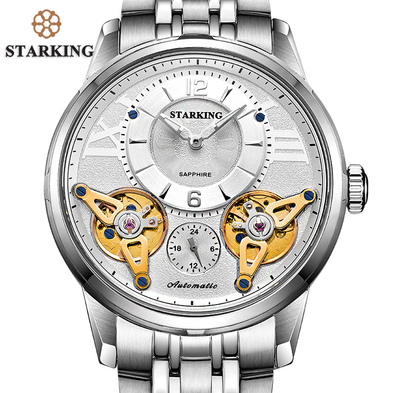 STARKING Big Watch Fashion Men Watches Stainless Steel Automatic Self-wind Mechanical Watch Sapphire Crystal Vogue Male Clock shenhua brand black dial skeleton mechanical watch stainless steel strap male fashion clock automatic self wind wrist watches