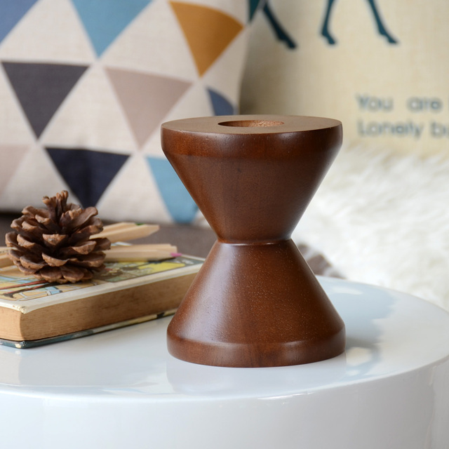 Christmas Decor Geometric Retro Wooden Candlestick Furnishing Articles Household Adornment of Children Room Decoration
