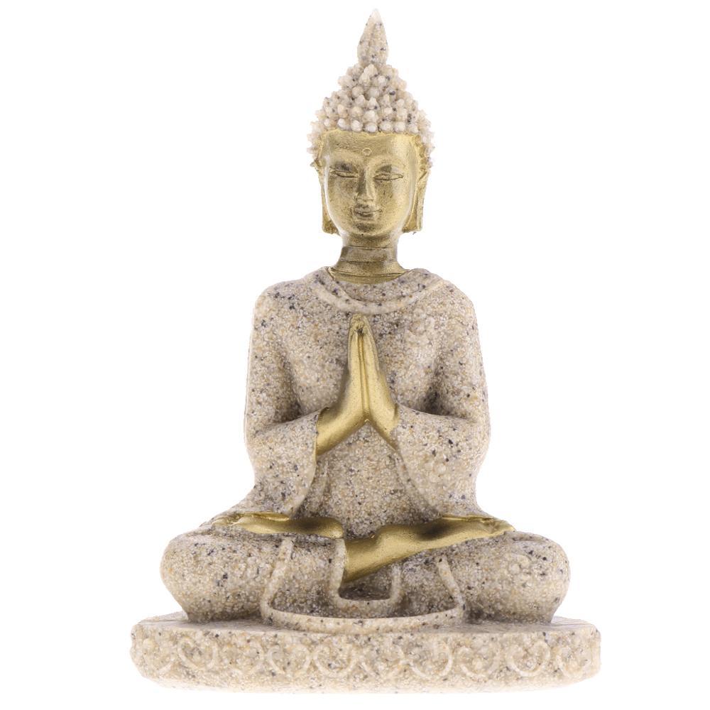 MagiDeal Huế Đá Sa Thạch Thiền Phật Tượng Điêu Khắc Thủ Công Hình Tượng Thiền Bức Tiểu Họa Vật Trang Trí Tượng Nhà D #3 title=
