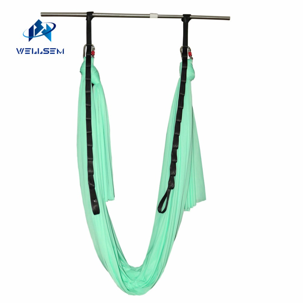 Wellsem Upgraded Aerial Yoga Hammock Swing for Anti-gravity Yoga Pilate Inversion Include Daisy Chain ,Carabiner and Pose Guide leisure decompression hammock inversion trapeze anti gravity aerial traction yoga gym swing hanging daisy chain carabiners