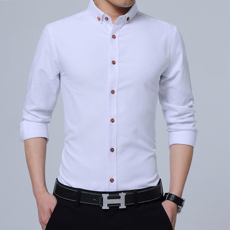 Рубашка с длинными рукавами для мужчин, новая модная дизайнерская рубашка Camisa, Мужская Однотонная рубашка, нежелезная тонкая рубашка, делов...