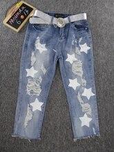 Мелинда Стиль 2017 новый летний мода женские джинсы брюки с отверстием пятибалльной звезды pattern джинсы брюки бесплатная доставка