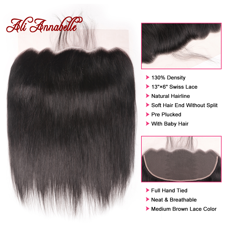 Brazilian Human Hair Straight 13 6 Lace Frontal with Baby Hair Natural Color 100 Human Hair
