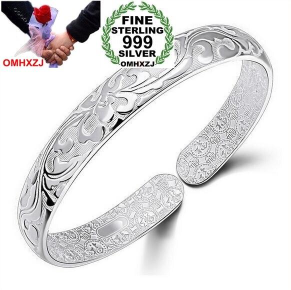 OMHXZJ Wholesale Geometric Fashion Flowers Woman Kpop Star Fine 999 Sterling Silver Opening Adjustable Bracelet Bangles SZ12