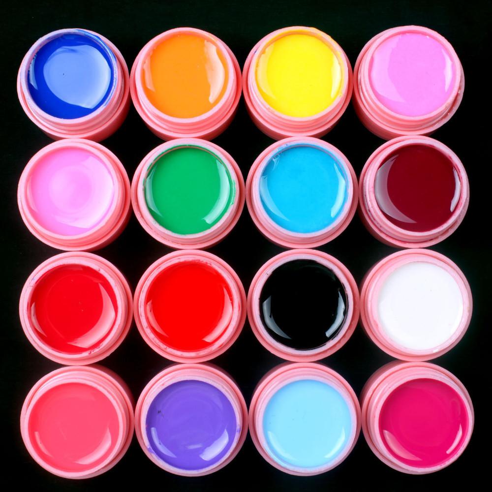 UVGL041- 16 PCS solid color Mix Color UV Builder Gel