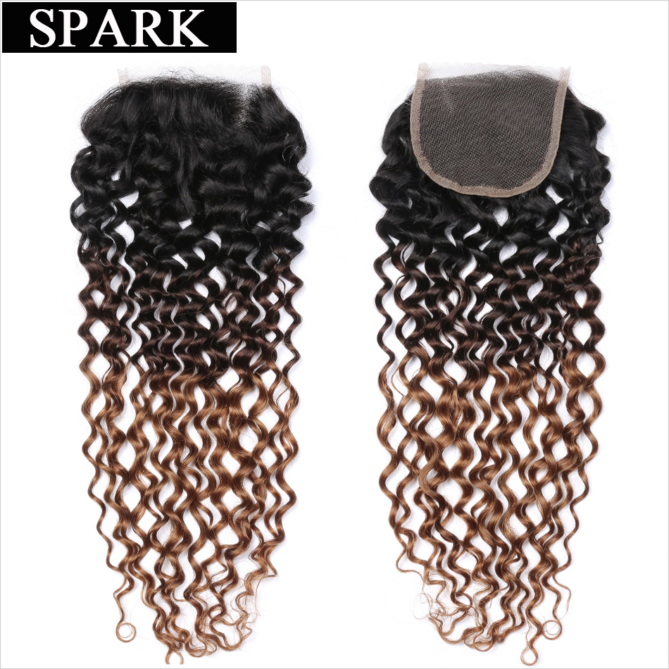 Spark 1B / 4/30 tri tone ombre brazilski kinky kodrasti las čipke - Človeški lasje (za črne) - Fotografija 4