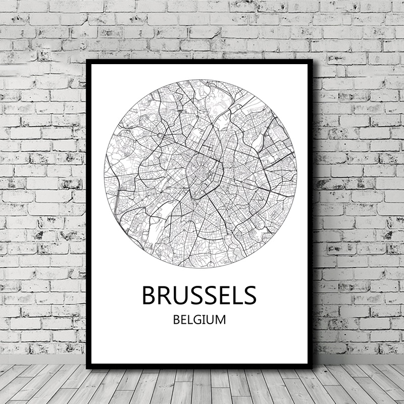 World City Map Black and White Antwerp Brussels Ghent Belgium Poster Canvas Print Home Decor No Frame