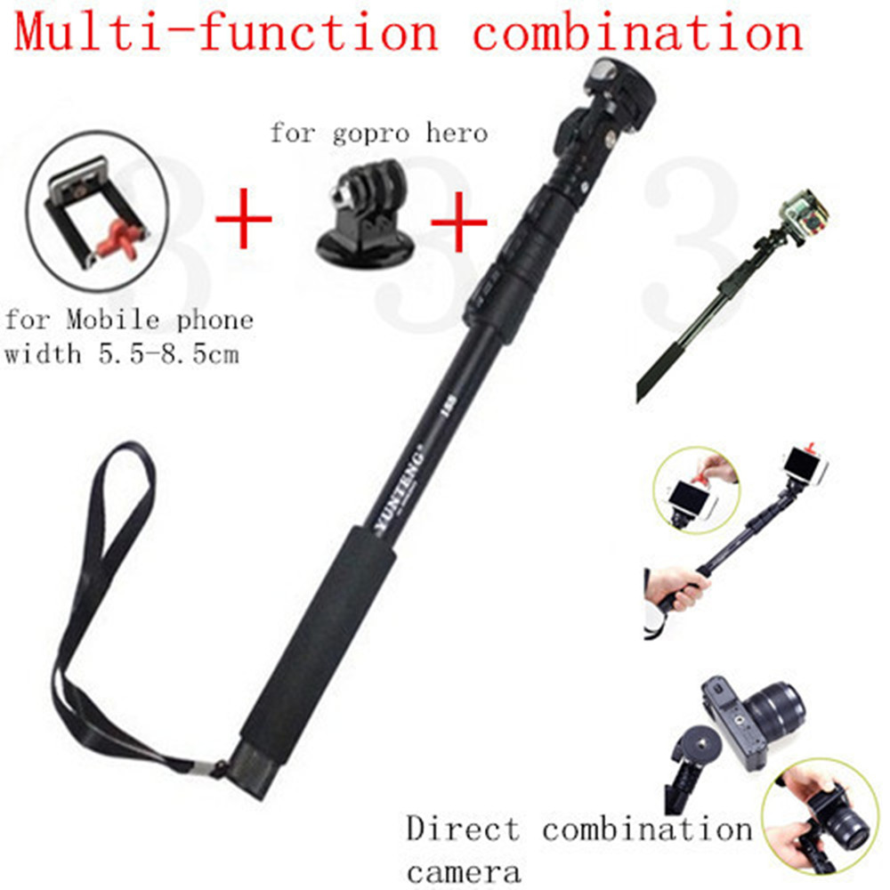 Aluminum 123cm Telescopic Handheld Monopod With Tripod Mount Adapter And Mobile Phone Holder For Gopro Hero 6 5 & Mobile Phone