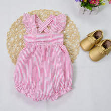 Ins Hot Infant Baby Girls Stripe Cotton Linen Rompers Toddler Flutter Sleeve One pieces 2016 Children's Princess Romper