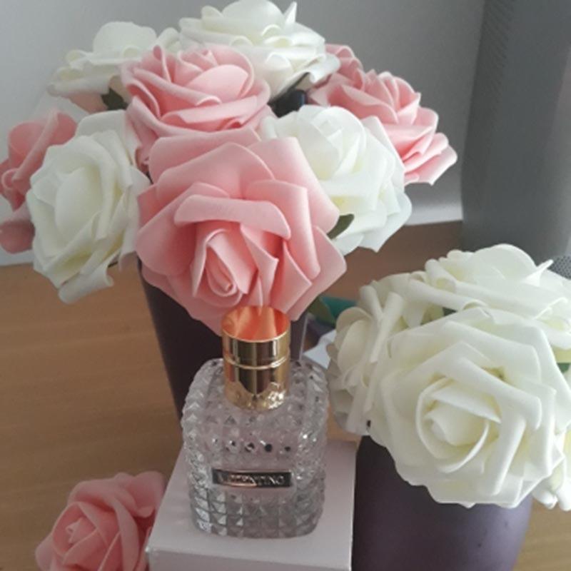 5PCS/Lot 8cm Bigs PE Foam Fake Roses Flowers Head For Wedding Home Decorations DIY Decorative Artificial Flowers Wreath White