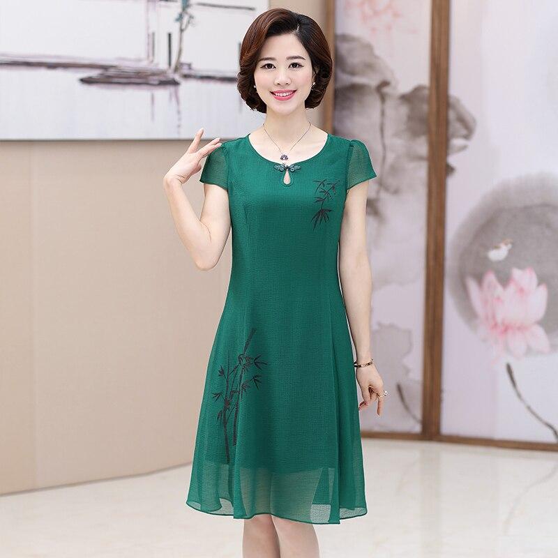2019 30-40-50 ans été nouvelle robe mère d'âge moyen femmes à manches courtes robe en mousseline de soie