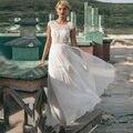 Cheap Beach Wedding Dresses 2017 Vestido De Novia Sheer Illusion Lace Appliques Bridal Dress With Cap Short Sleeve Floor Length