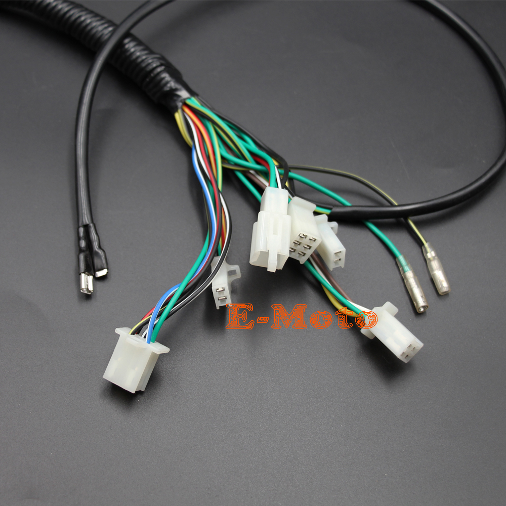 Complete Electrics Wiring Harness Coil Cdi Stator Tail Light New 50 70 90 110cc 125cc Wire 100 Brand 50cc 90cc Loom