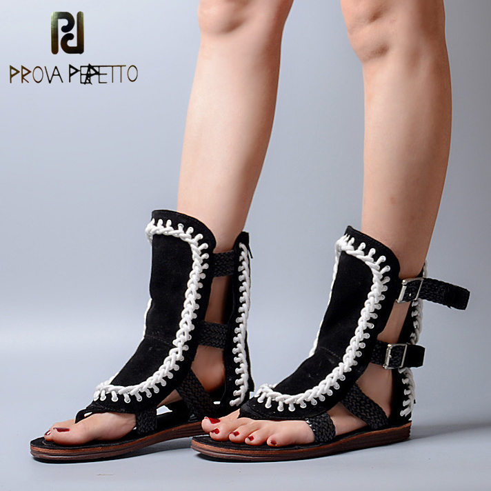 Prova Perfetto Suede Buckle Strap Women Sandals Summer Casual Shoes Woman Flip Flops Hollow Out Weave