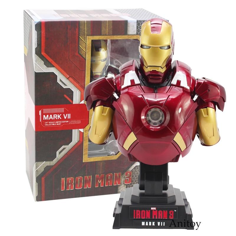Железный человек 3 MARK VII 1/4 масштаб Ограниченная серия Коллекционная Фигурка бюста модель игрушки со светодиодной подсветкой 23 см