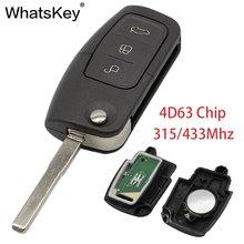 WhatsKey 3 Button Flip Remote Control Car Key 315/433Mhz 4D63 Chip HU100 Fob Case For Ford Focus 2 Mondeo Fiesta With Logo
