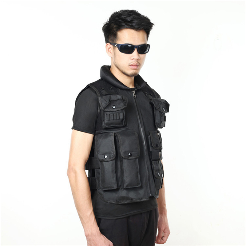 Men Black Tactical Hunting Vest Wargame Body Airsoft Molle Armor Sports Wear Tank Tops CS Outdoor Waistcoat Protective Equipment