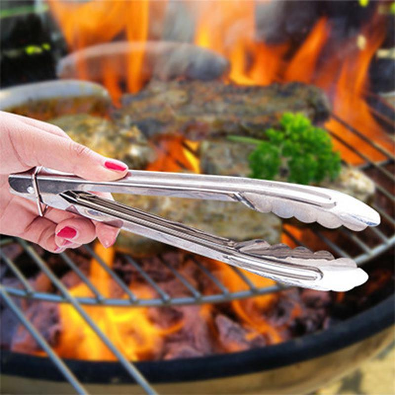 WOFO 9 Inch Barbecue Tong Barbecue Clip BBQ Food Bread Grill-Baking Clamp Stainless Steel Foods Tongs Kitchen Tool
