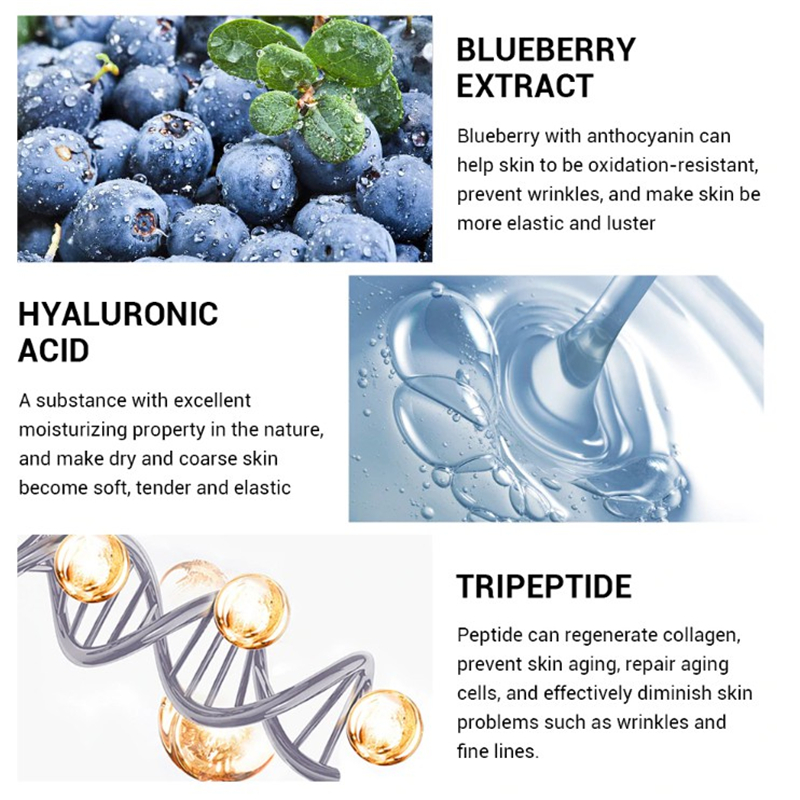 LANBENA Blueberry Hyaluronic Acid Serum Essence Oil Moisturizing Reduces Fine lines Whitening Anti-Aging Anti Wrinkle Skin Care