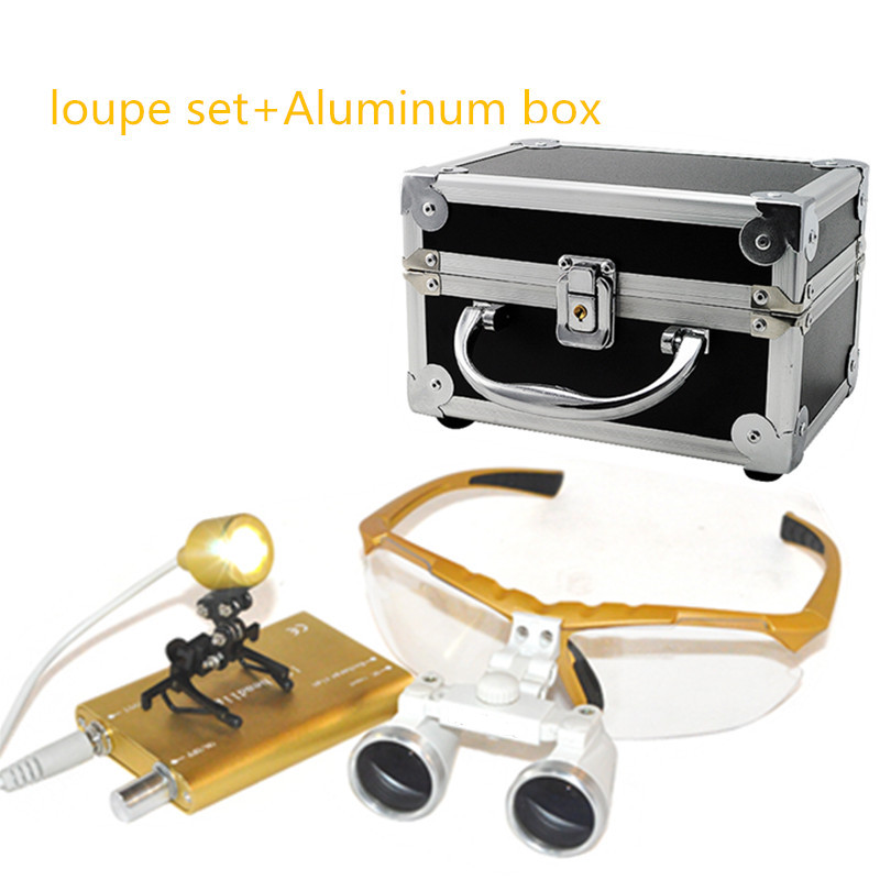 Yellow New Dentist Dental Surgical Medical Binocular Loupes 3.5X 420mm Optical Glass Loupe Portable Light Clip+Aluminum Box dentist medical binocular dental surgical loupes 2 5x glasses magnifier ultra light 420 w clip