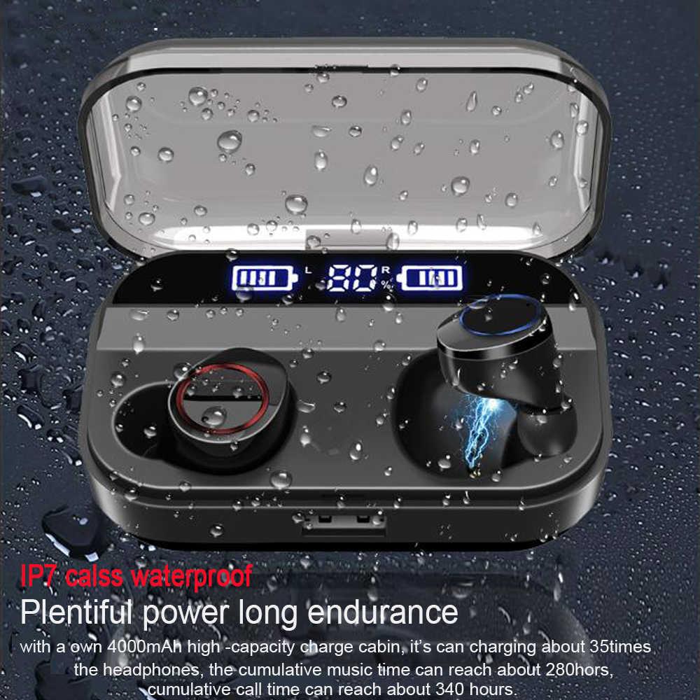 QCR TWS ワイヤレスイヤホンの Bluetooth 5.0 イヤホン電源ディスプレイタッチコントロールスポーツステレオコードレスイヤフォンヘッドセット充電ボックス