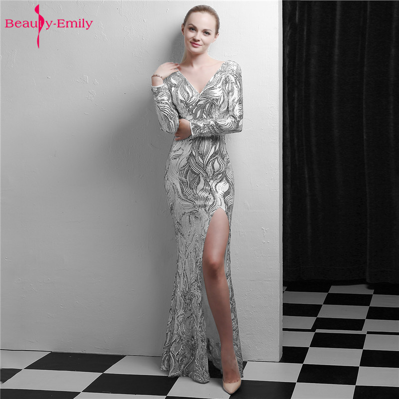 Beauty Emily Silver Sequins V Neck   Evening     Dress   Full Sleeve Appliques Mermaid   Dress   High Split Open Back Party Gowns Vestido