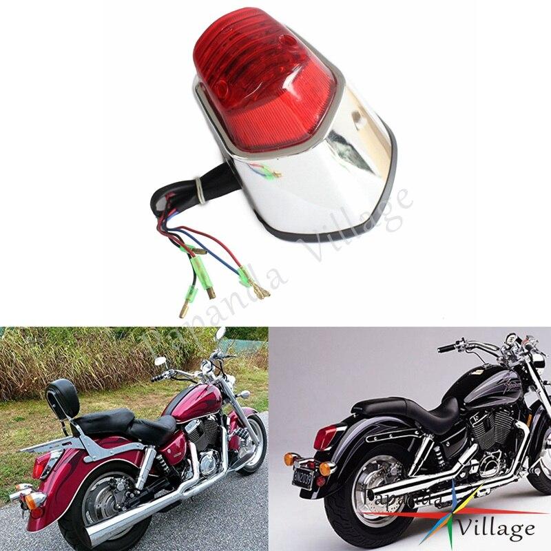 Papanda motosiklet krom kirmizi Lens arka Stop lambası koşu durdurma Honda VT400 ACE Shadow saber 1100 Valkyrie title=