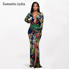 Romantic Lydia 2017 Women Floral Maxi Dress Plus Size Tropical Print Green Dress Deep V-Neck Side Split Sexy Party Beach Dress