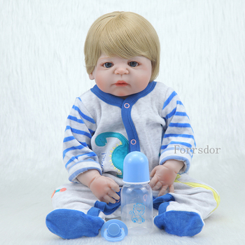 full body silicone reborn dolls for sale 22 55cm Blond real hair wig male baby dolls real baby gift reborn warkings reborn