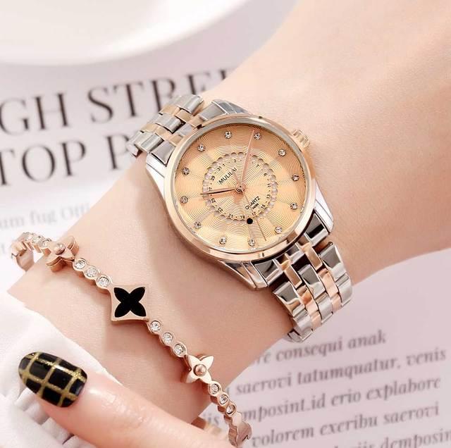 New Women's Watch Luxury Brand Rotating Calendar Quartz Wristwatches Women's Rhinestone Starry Rose Steel Watch relogio femenino 1