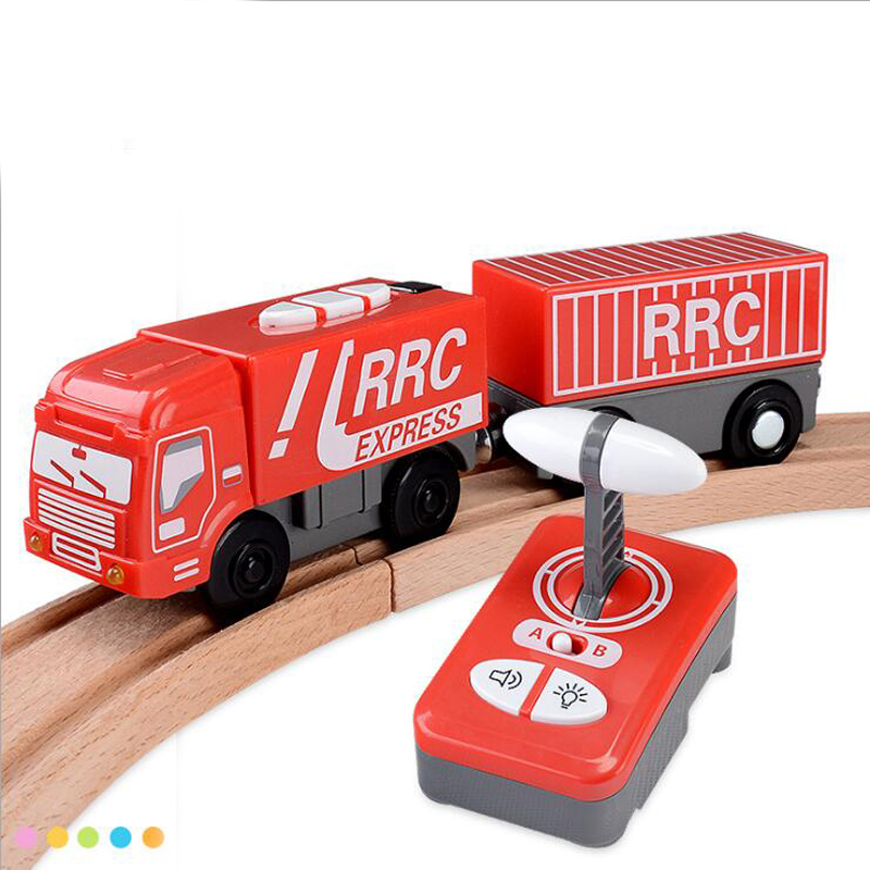 w118Free Shipping RRC Red remote control express train electric train set wooden blocks rail car toy compatible with Thomas tra
