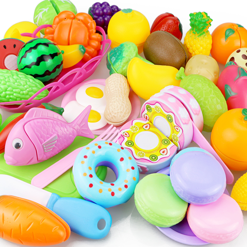 New Cutting Fruit Vegetable Toy Pretend Play Kitchen Toys Play House Miniature Plastic Cooking Food Kids Girls Educational Gift baby miniature kitchen plastic pretend play food children toys with music light kids kitchen cooking toy set for girls games hot