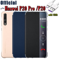 Case For Huawei P20 Pro Case Original Official Smart View Flip Cover Shell PU Leather Funda