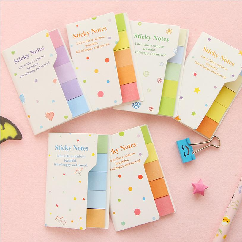 5pcs/lot kawaii Rainbow Double double color memo pad Colorful index sticky Post it notes sticker bookmark Stationery 01913
