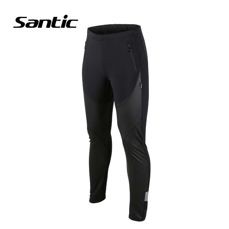 Santic Men Cycling Pants Winter Fleece Warm Bicycle Pants PU Windproof Road Mountain Bike Pants Cycling Long Trousers santic men winter cycling pants thermal fleece windproof mtb road bike pants 4d padded bicycle long pants cycling clothes