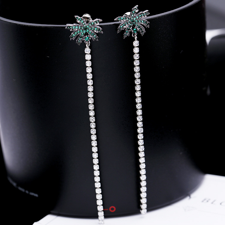 Trendy Cubic Ziron Micro Paved Tassel Summer Coconut Tree Long Stud Earrings For Women Jewellery