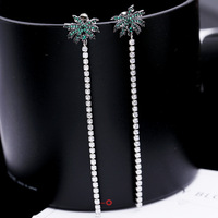 Trendy Cubic Ziron Micro Paved Tassel Summer Coconut Tree Long Stud Earrings For Women Jewellery