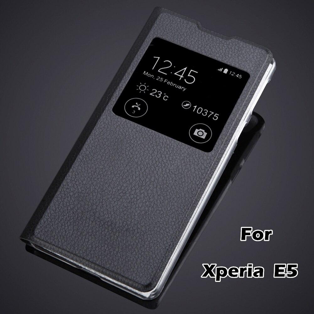 E5 Case Fundas luxury Fashion Protective Phone Bag Skin For sony xperia E5 F3313 F3311 view window flip cover pu leather case