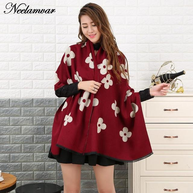 new Fashion Brand Winter Scarf Women Designer Pashmina Shawls and Scarves warm thick cashmere scarves  High quality girl gifts