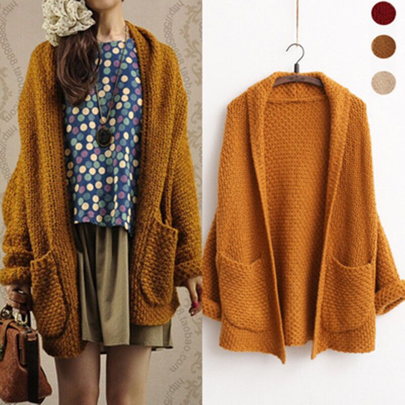 New Autumn Long Sleeve Knitwear With Pocket Female Casual Knitted Sweater Overcoats Cardigans Coats For Women