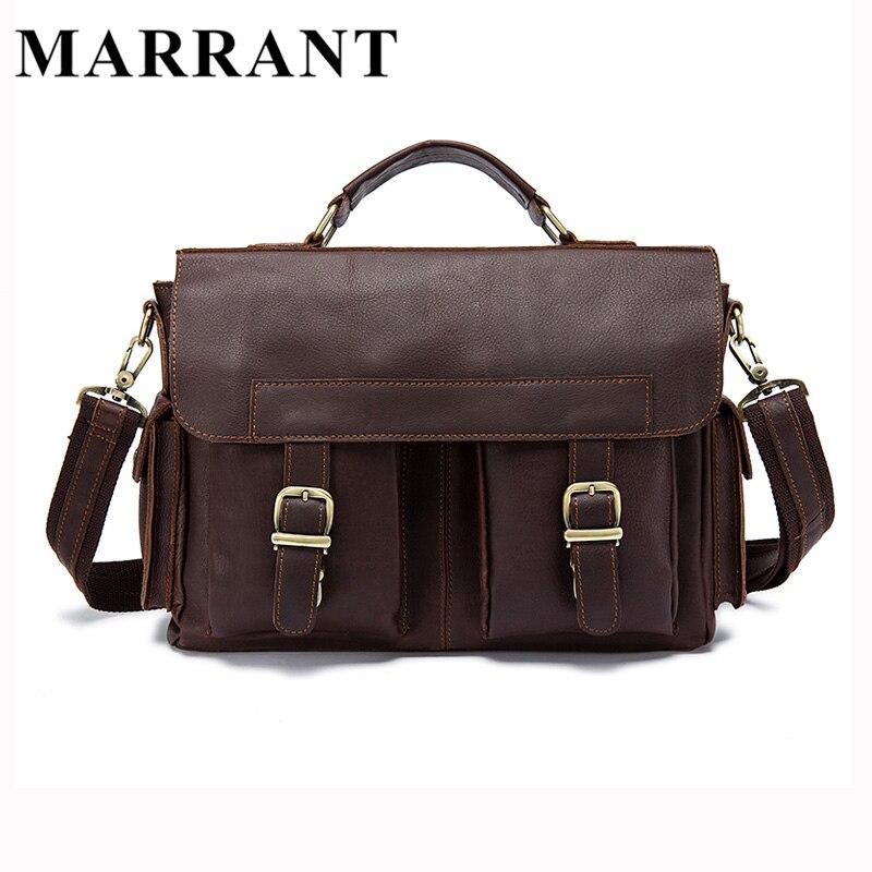 MARRANT Men Bag Genuine Leather Briefcase Men's Business Laptop Bag Man Crossbody Shoulder Handbag Real Leather Men Bags 8408